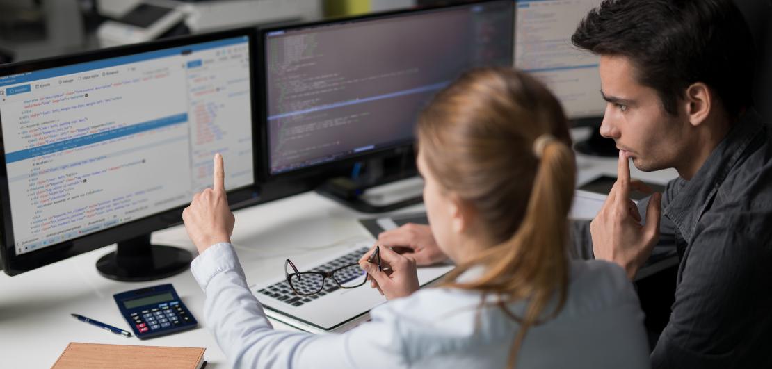 Woman behind a computer
